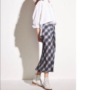 a31184e42dc1c1 Vince Skirts   Silk Shadow Plaid Drape Midi Skirt   Poshmark